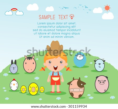 Girl With Farm Animal, village girl with Farm Animals , Illustration of kids and Farm Animals ,  farm animals and background, Vector Illustration - stock vector