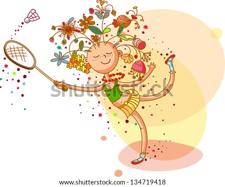 Girl with floral hairstyle is playing badminton - stock vector