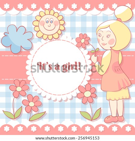 Girl with flower. Cute photo frame. Scrapbook elements.   Baby shower card. Vector illustration. EPS10