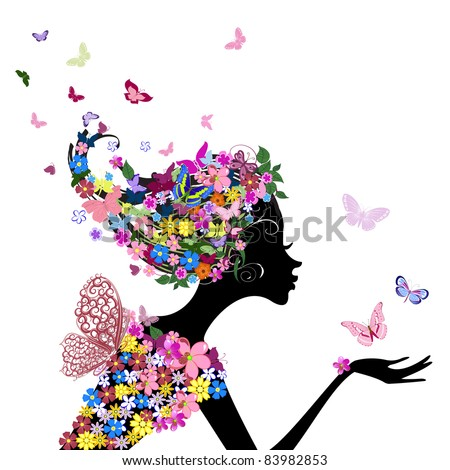 girl with flowers and butterflies - stock vector