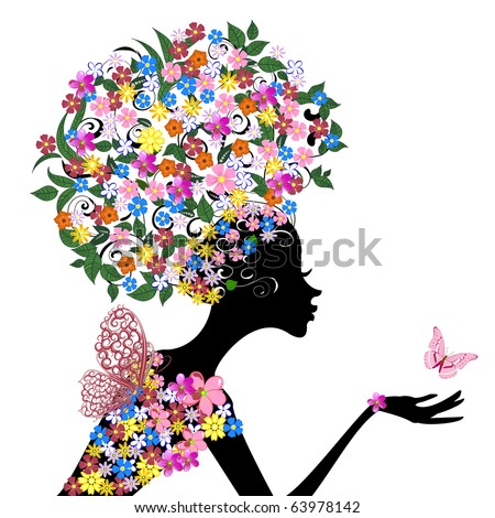 Girl with flowers on her head - stock vector