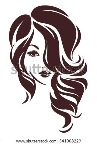 girl hair loose vector logo design stock vector 341008229