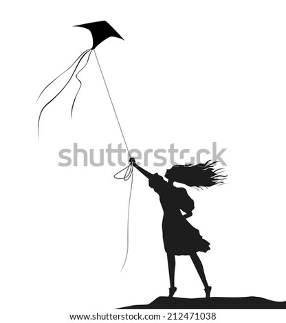 girl with kite, black and white, on the wind, blowing - stock vector
