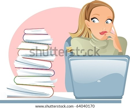 Girl with laptop in horror from the number of documents - stock vector