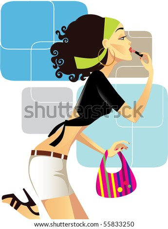 girl with lipstick - stock vector