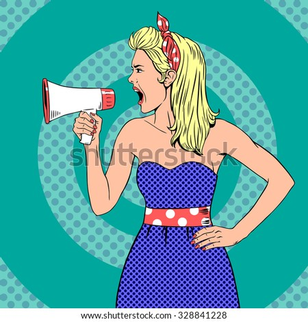 Girl with megaphone  or loudspeaker in pop-art style.  Communication announce, shouting announcement, speaker female young. Vintage vector illustration - stock vector