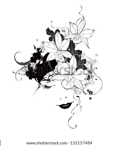 Girl with orchid flowers black and white - stock vector