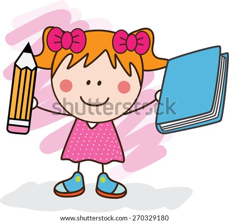 girl with pencil and book - stock vector