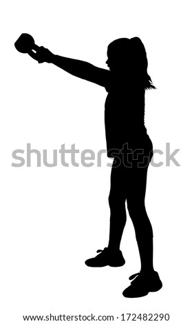 Girl with Ponytail Hair Swinging Fitness Kettlebell Silhouette