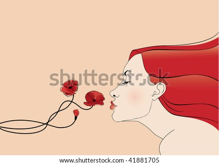 girl with red hairs smells flowers sexy romatic tender cute - stock vector