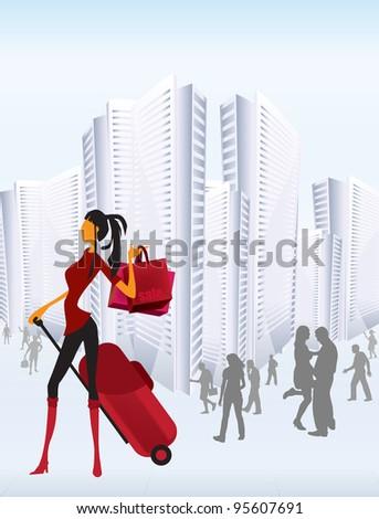 Girl with shopping bag - stock vector