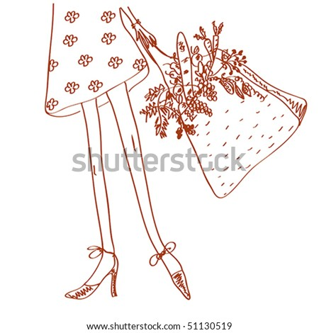 Girl with shopping bag full of fresh vegetables and fruits sketch - stock vector