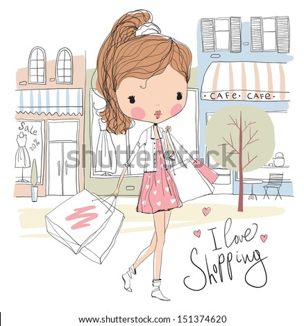 Girl with shopping bags on the street - stock vector