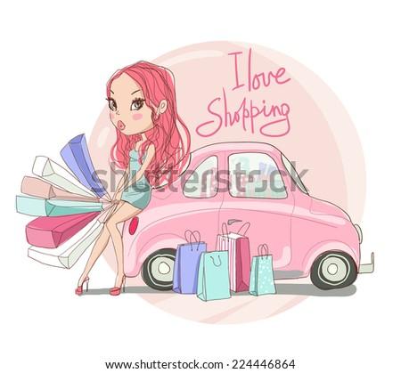 Girl with shopping near the car. - stock vector