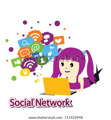 girl with social media - stock vector