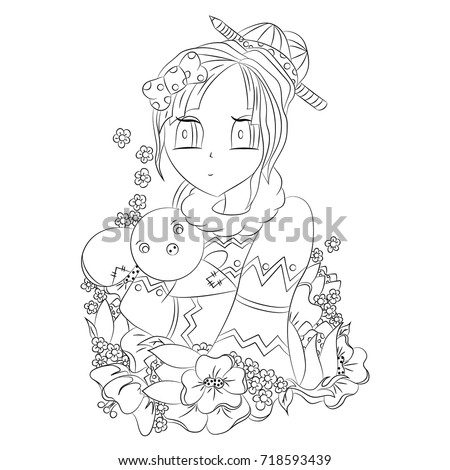 Vector illustration anime black outline on