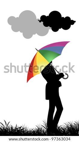 Girl with umbrella - stock vector