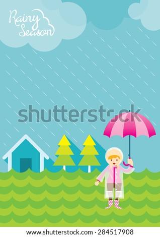 Girl with Umbrella in the Field Rainy Season, Monsoon, Rain,  - stock vector