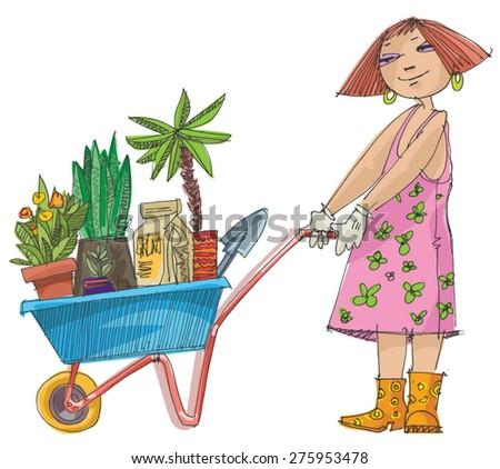 girl with wheelbarrow full of plants and flowers - cartoon - stock vector