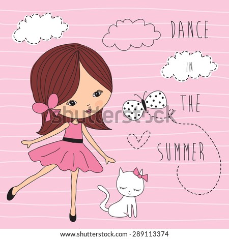 girl with white cat vector illustration - stock vector