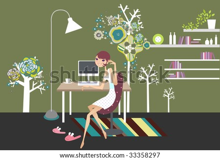 girl work from home - stock vector