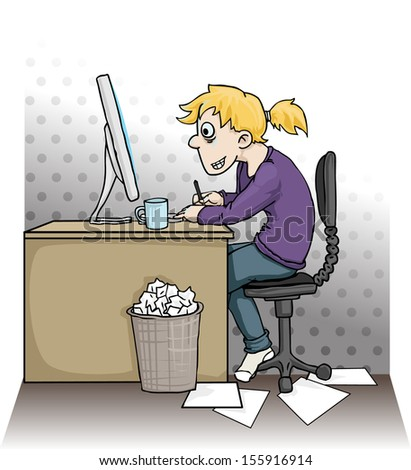 Girl working hard on a computer, vector illustration - stock vector