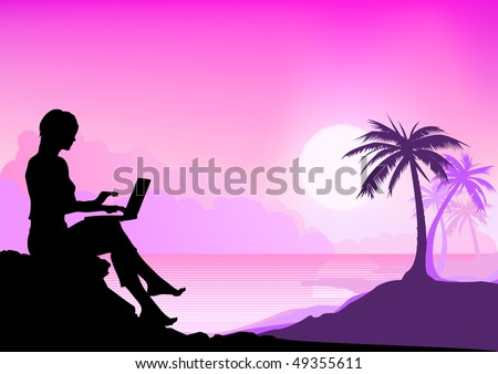 Girl working with laptop on a palm beach - stock vector
