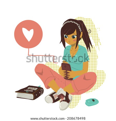 Girl Writing Text Message on notebook. The vector illustration of young cartoon girl writing message on her mobile phone for ui, web games, tablets, wallpapers, and patterns. - stock vector