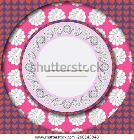 Girlish school agenda cover. Greeting card. Marriage invitation card. Digital background vector illustration. - stock vector