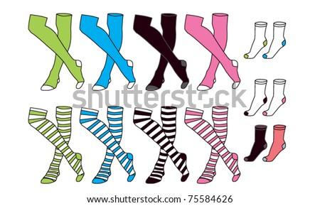 Girls and Boy Socks - stock vector