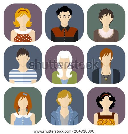 Girls and boys icons set in flat style - stock vector