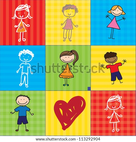 girls and boys over colorful backgrounds with a heart. Vector illustration - stock vector