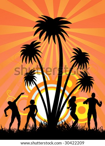 girls and boys party in sunny place