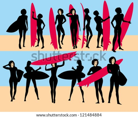 girls and surfing board - stock vector