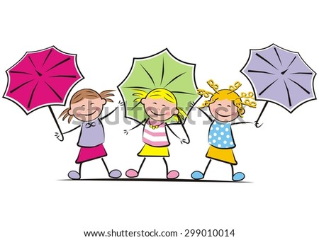 girls and umbrella