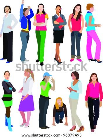 girls and women figure - stock vector