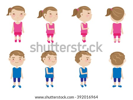 Girls, boys vector character sets - stock vector