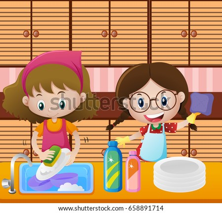 Girls Cleaning Dishes In Kitchen Illustration