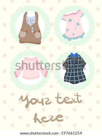 Girls clothes card design - stock vector
