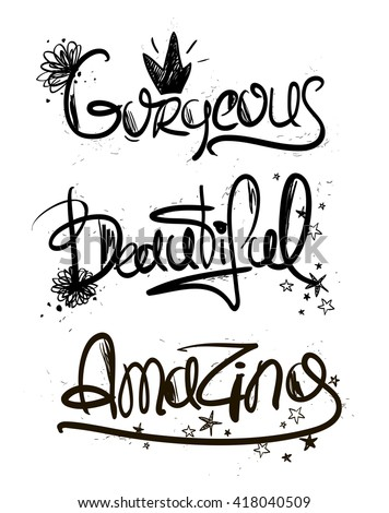 Girls Decorative Handlettering Words Creative Typography Illustration With Inspiration