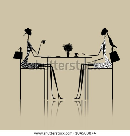 Girls drinking coffee in cafe - stock vector