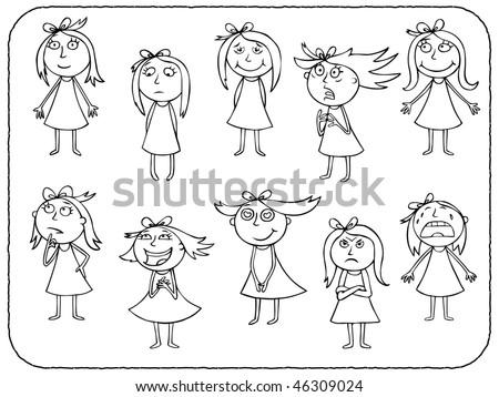 Girls emotions - contour - stock vector