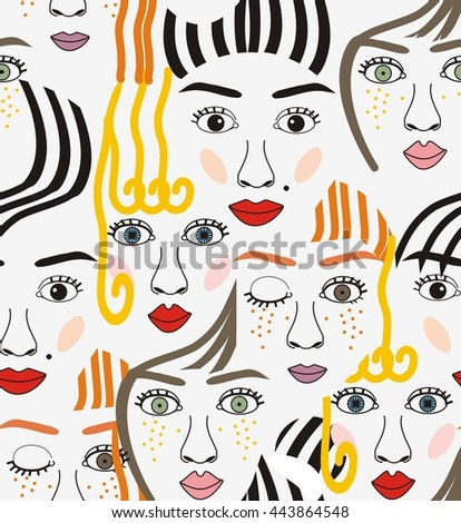 Girls faces with eyes, hairs, noses and lips pink, orange, blue, yellow, red, gray, and black a seamless pattern on a white background. - stock vector