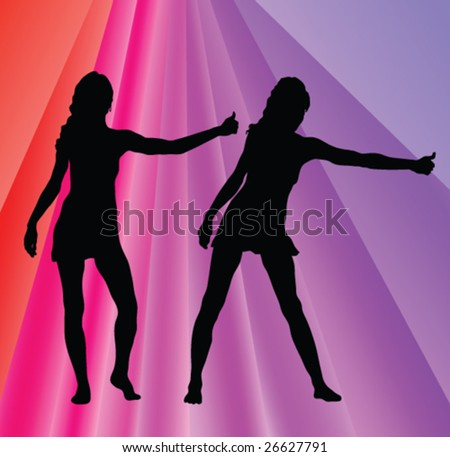 girls hitchhikers silhouettes - vector