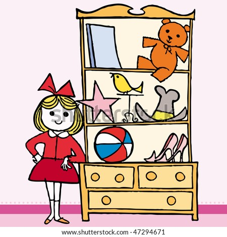 Girls in bedroom, with furniture and toys. Vector illustration cartoon. - stock vector