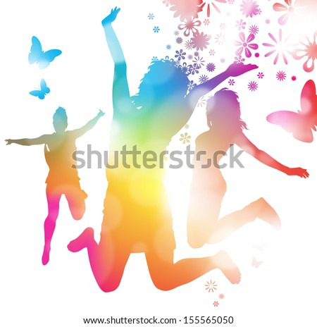 Girls Jumping in the Summer.  - stock vector