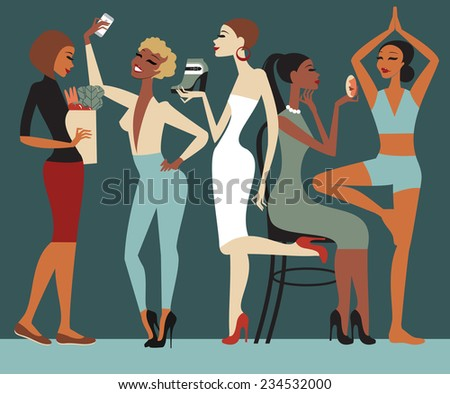 Girls lifestyle - stock vector