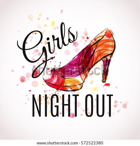 Girls Night Out Party Design Vector Stock-Vektorgrafik (Lizenzfrei ...
