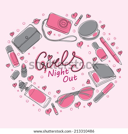 Invitation Cards For Ladies Party. Girls Night Out Party Invitation Card Design in Vector  You can design invitation cards Stock 213310486