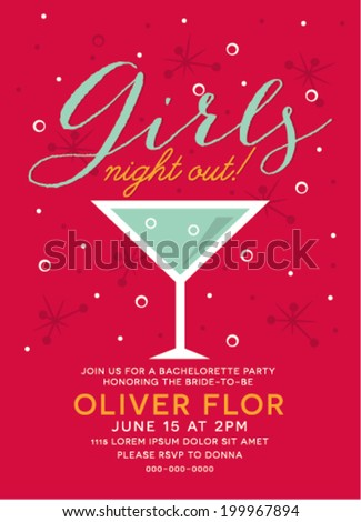 Girls Night Out Party Invitation with Cocktail Glass - stock vector